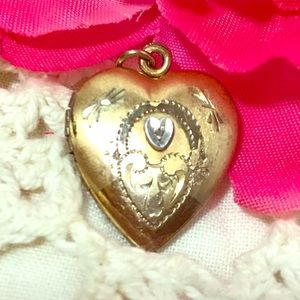 Very vintage .925 12kt Gold Diamond Locket w/ loop